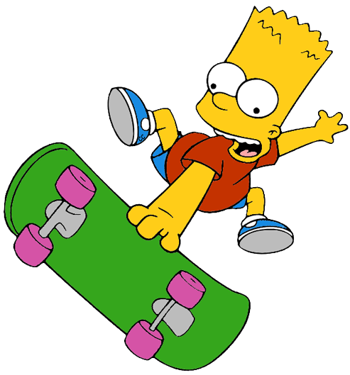 Skateboard cartoon png. The simpsons clip art