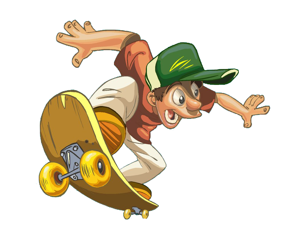 Skateboard cartoon png. Skateboarding funny transprent free