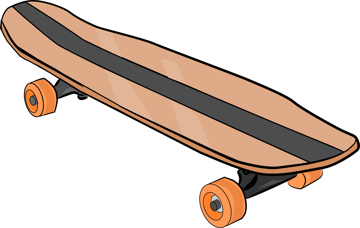 Skateboard clip. Clipart black and white
