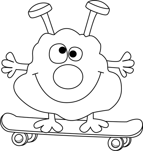 Skateboard clipart coloring page. Black and white monster