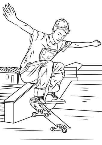 Skateboard clipart coloring page. Skateboarding trick free printable