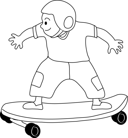 Skateboard clipart coloring page. Skateboarding kid free clip
