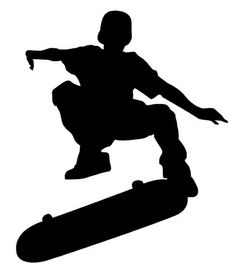 Skateboard clipart skateboarder silhouette. Image riding a and
