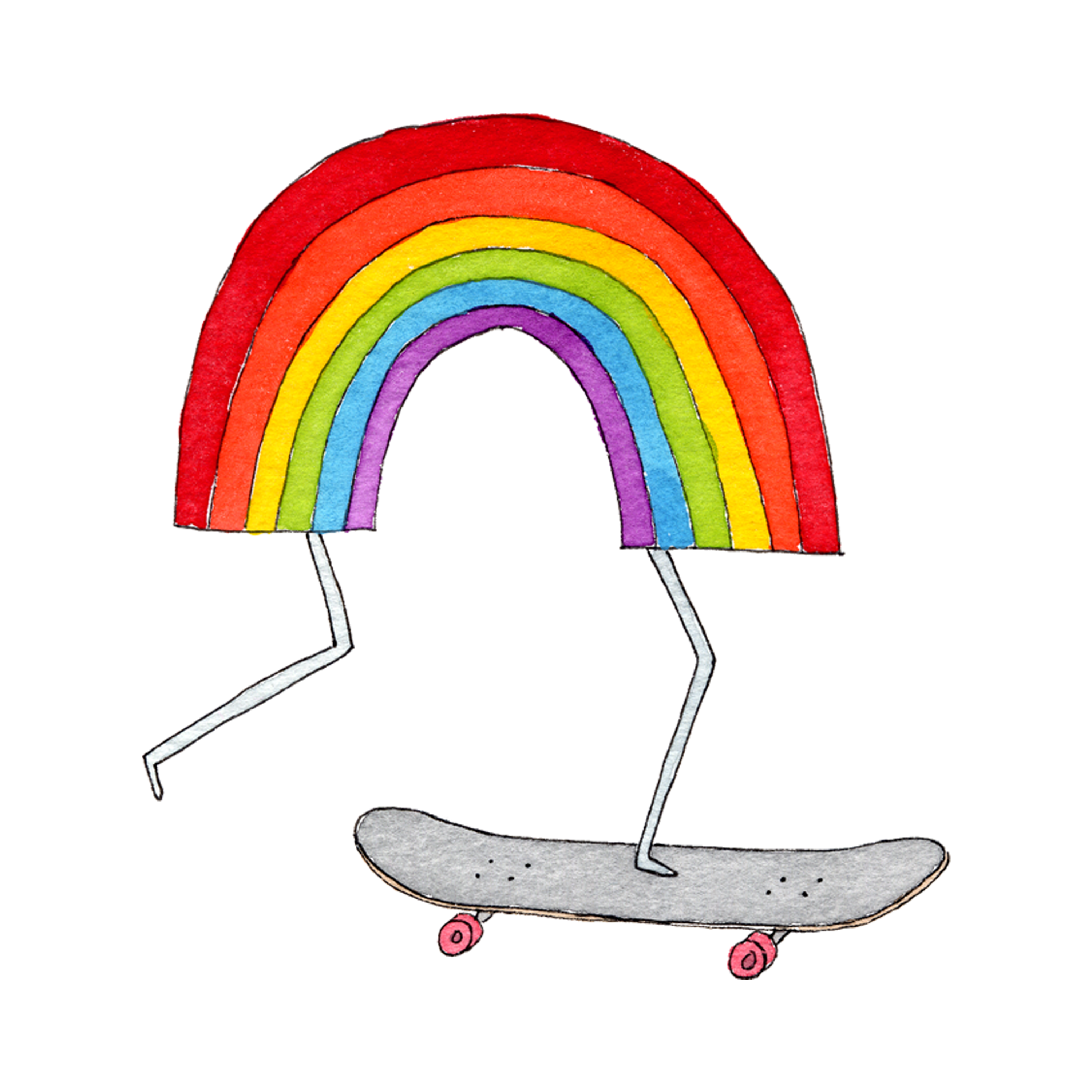 Skateboard illustration png. Rainbow by marc johns
