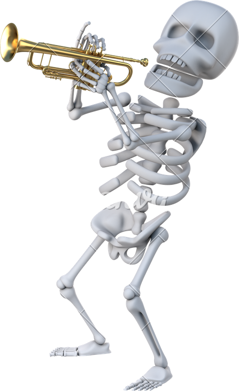 Skeleton trumpet png. D playing a