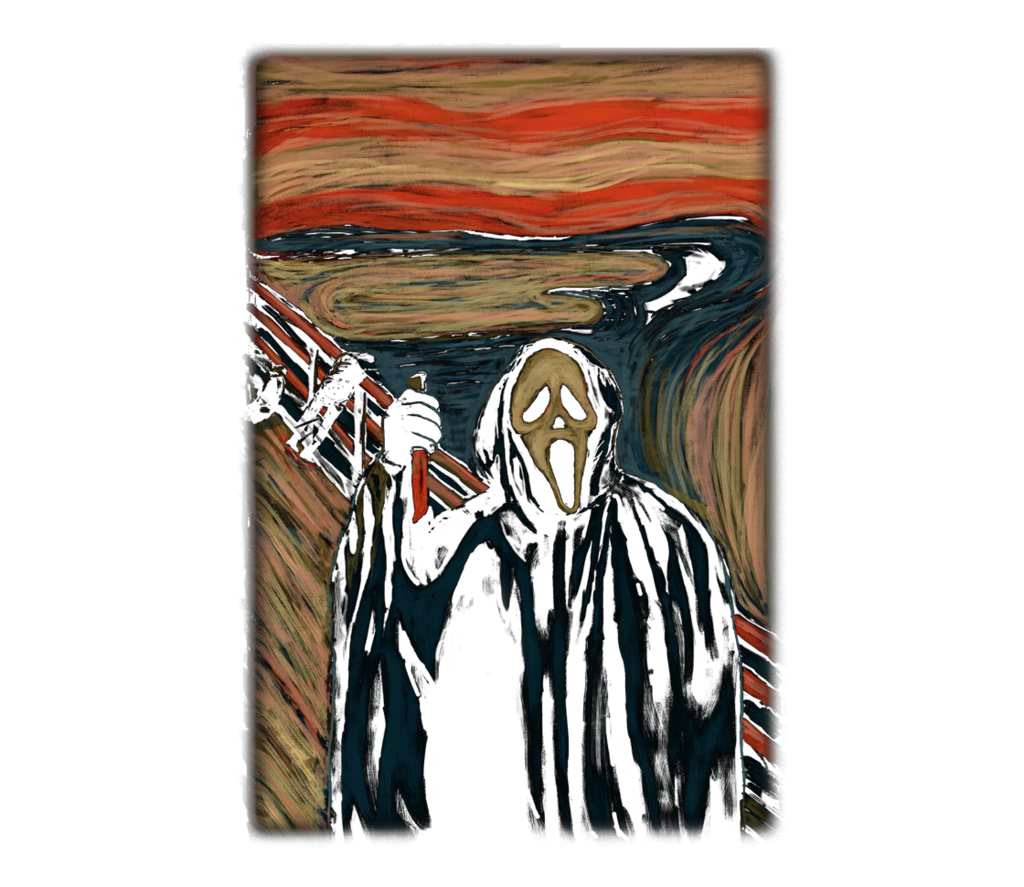 Ghostface drawing screaming. The teefury