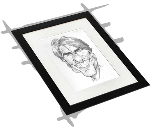 Drawing caracatures sketch. Studio caricatures