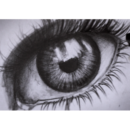 Sketching drawing. A realistic eye tutorial