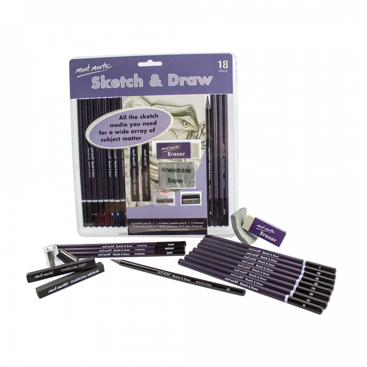 Sketching drawing pencil. Sketch draw set pce