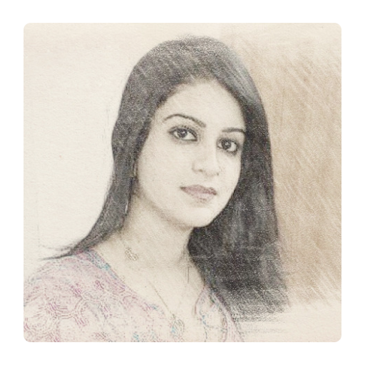 Sketching drawing portrait. Color pencil sketch apps