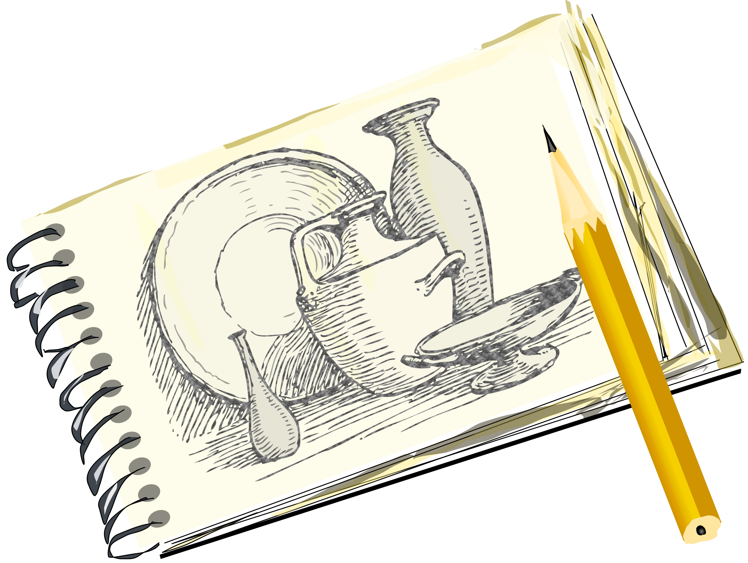 Sketchpad drawing artwork design. With still life unfilled