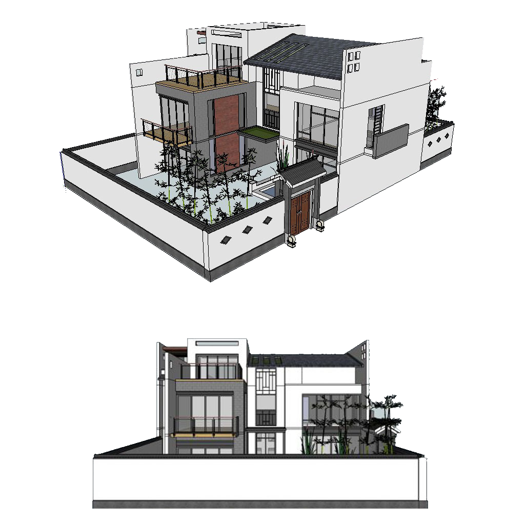 Sketchup drawing. Architecture d modeling facade