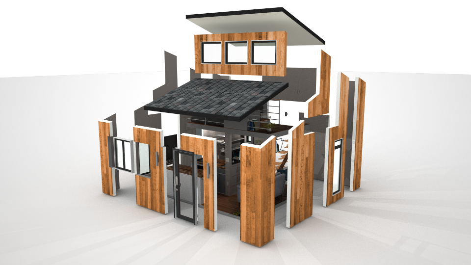 Sketchup drawing tiny house. Wosho the project