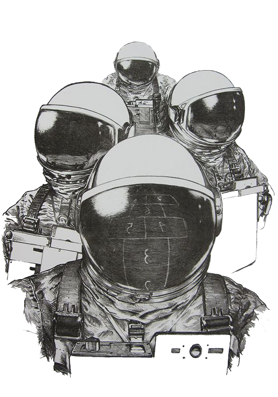 Sketchy drawing outer space. Astronaut suit sketch hand