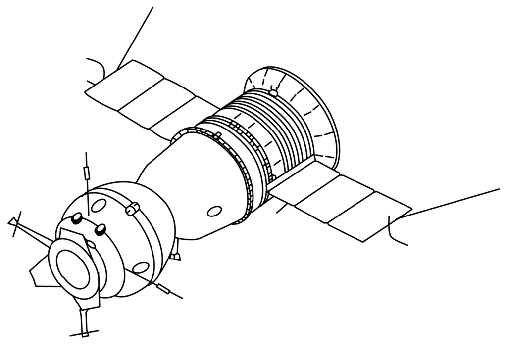 Sketchy drawing outer space. Pictures apollo soyuz et