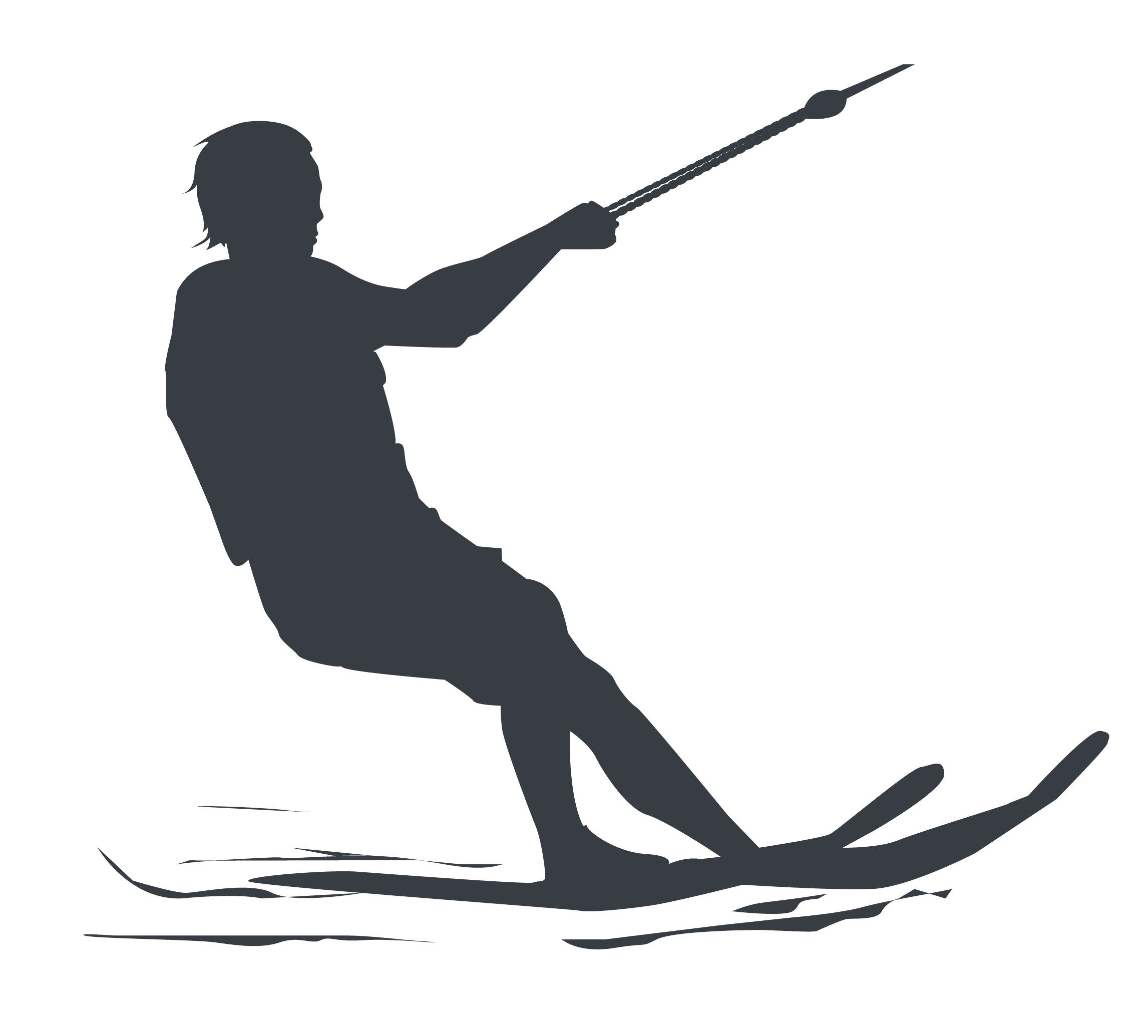 Ski clip skier silhouette. Water skiing active safe