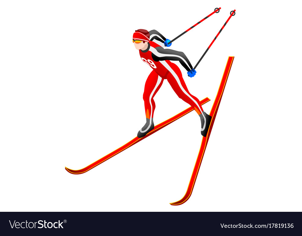 Skier clipart. Cross country royalty free banner stock