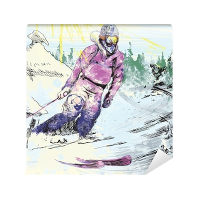 Skier drawing. Hand wall mural pixers