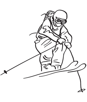 Skier drawing. Collection of skis