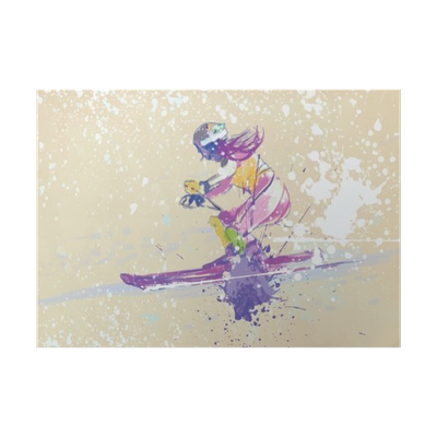 Skier drawing ice. Down hill hand poster