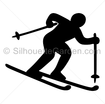 Skier drawing silhouette. Clip art download free