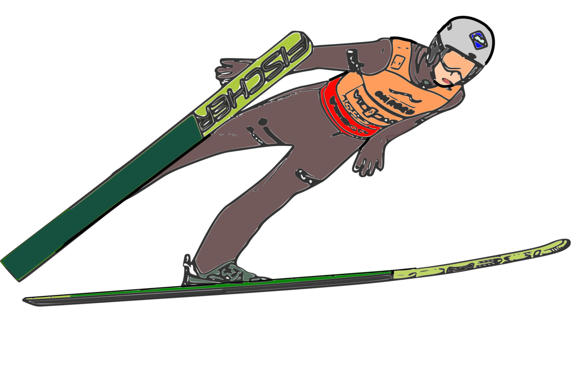 Skier drawing ski jumping. Nordic combined poles winter