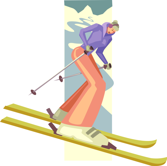Skier vector. Alpine downhill image illustration