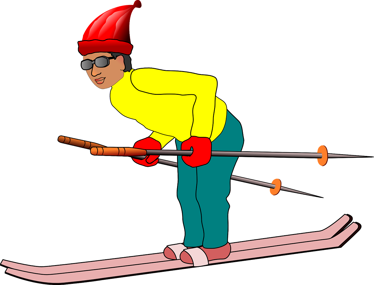 Vacation man sports hat. Skier vector animated clip freeuse library
