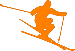 Skier vector cartoon. Orange clip art at