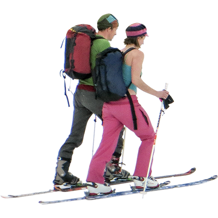 Skier vector ski slope. Two back country skiers
