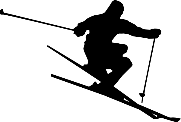 Skiing clipart. Black and white