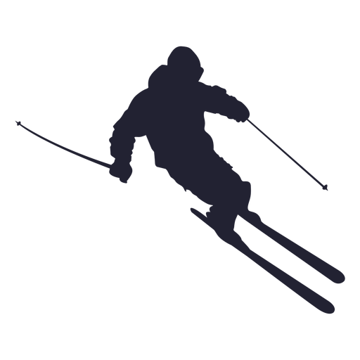 Ski clip skier silhouette. Skiing png image with