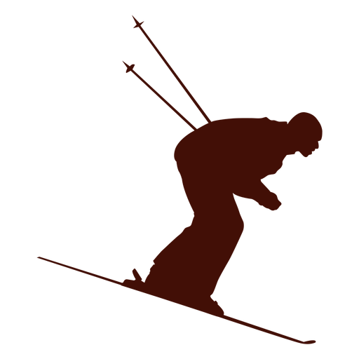 Skier vector outline. Speed skiing downhill transparent