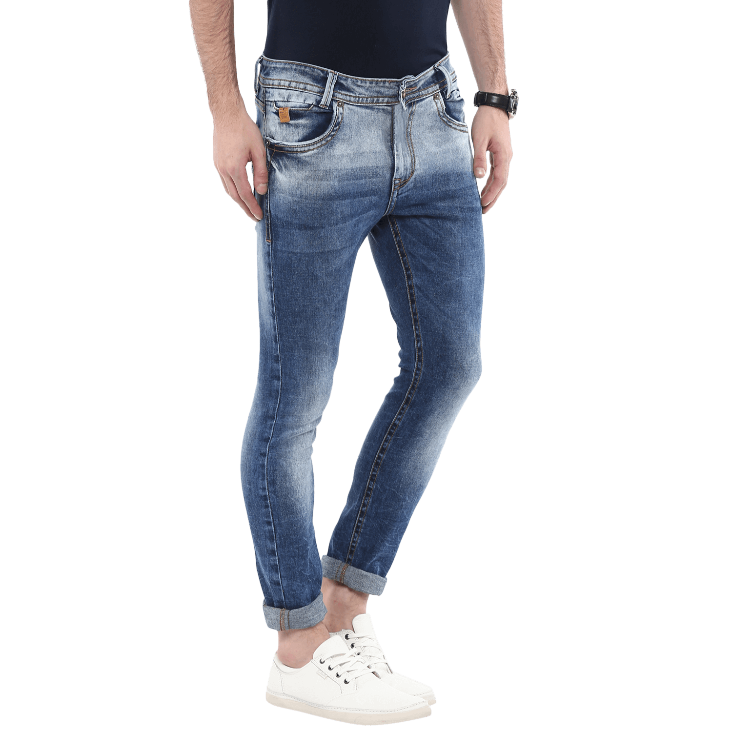Skinny clip jeans. Medium blue mad ow