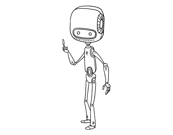 Skinny drawing robot. Coloring page coloringcrew com