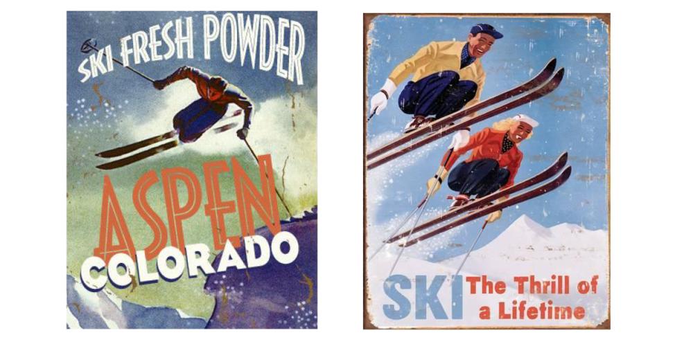 Skis drawing downhill skiing. A guide to vintage