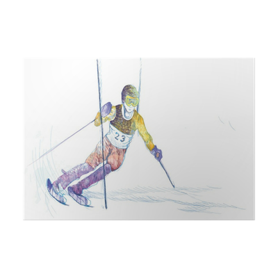 Skier drawing down hill. Slalom hand poster pixers
