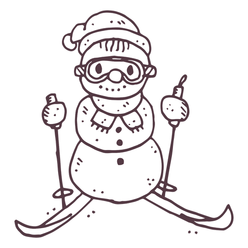 Ski snowman hand drawn. Ripples vector water sketch svg freeuse library