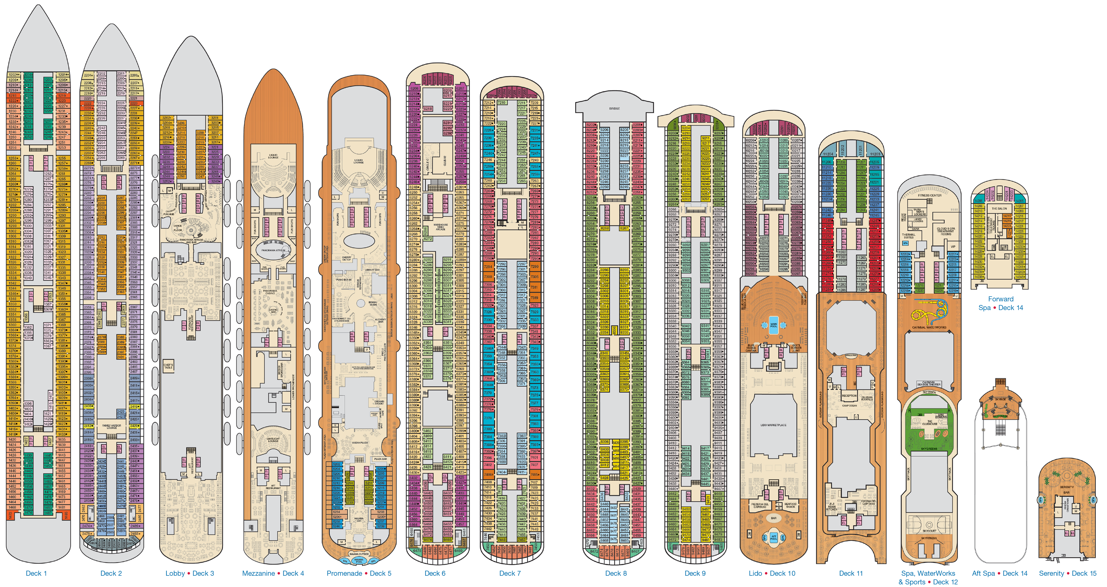 Skis drawing panorama. Carnival deck plans cruiseind