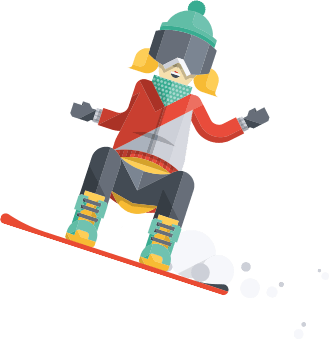 Snowboarding drawing person. Learn to ski snowboard