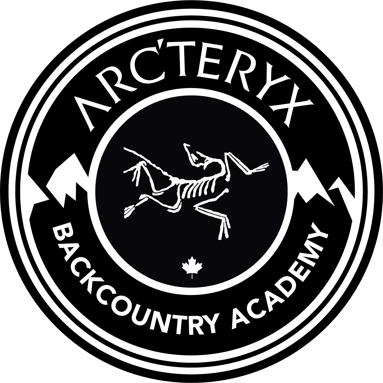 Snowboarder drawing ski. Arc teryx selects grand