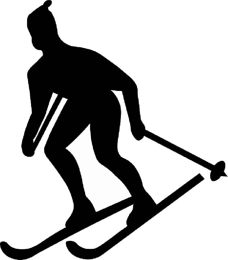 Cross country skiing library. Skier vector black and white banner royalty free stock