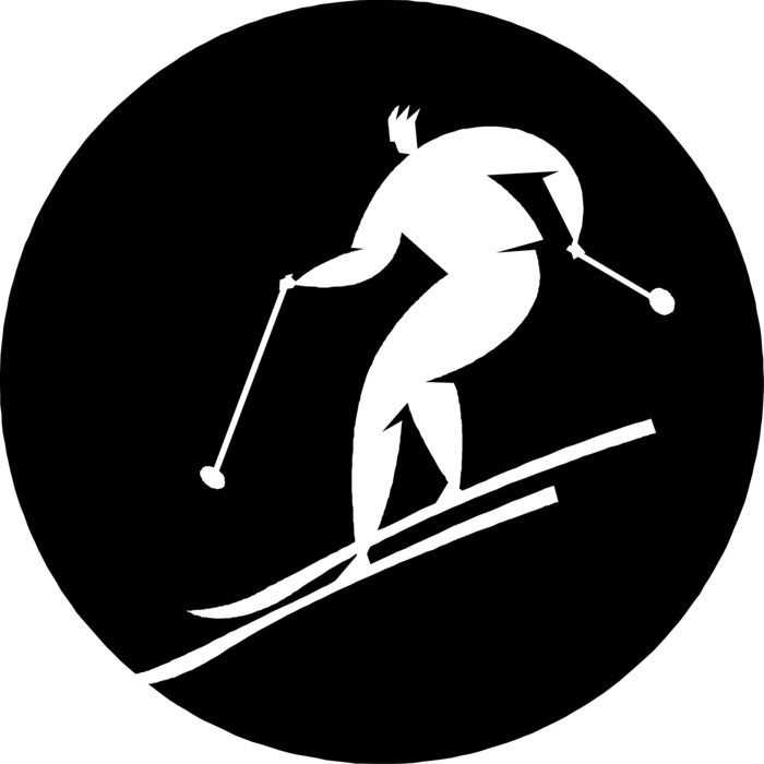 Skis vector ski mountain. Alpine skier with and