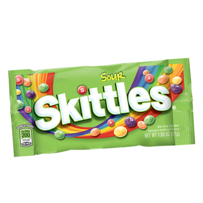 Skittles transparent cool. Sour gum chocolate candy