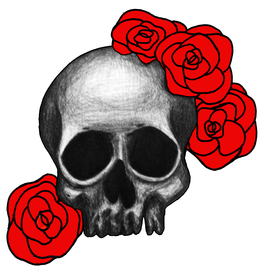 Drawing phoenix skull. With roses julie erin