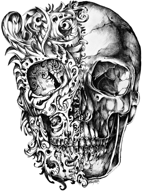 Charra drawing chicano art. Cool skull tattoo design