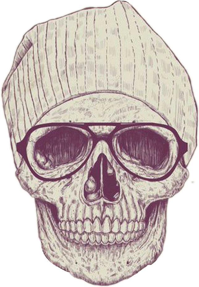 Skull drawing beanie png. Hipster glasses cool report