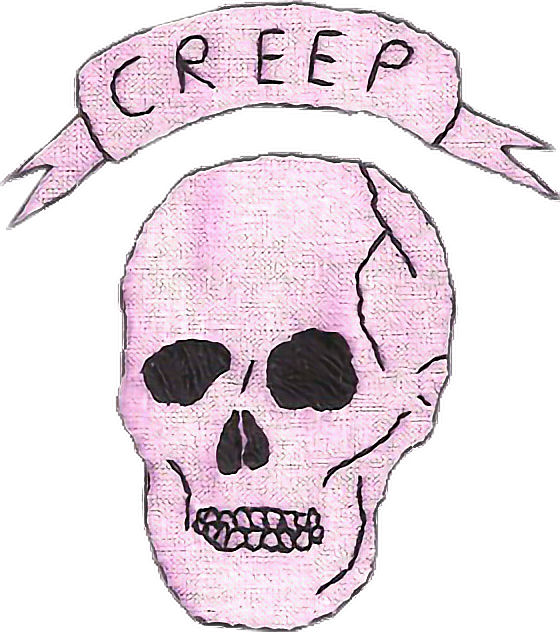 Pink drawing skull. Creep patch tumblr aesthetic
