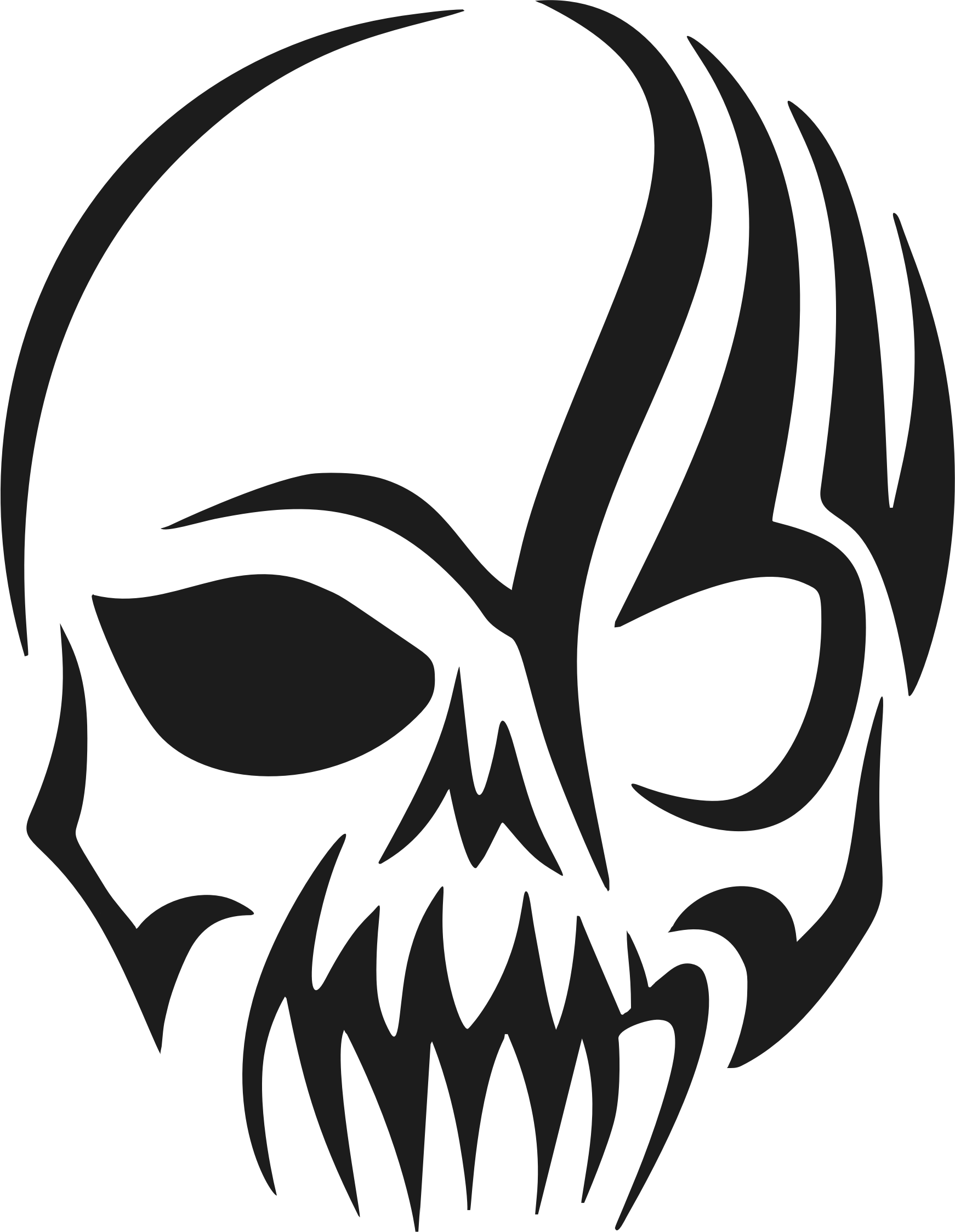 Tribal transparent silhouette. Skull icons png free
