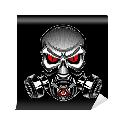 Skull with gas mask png. Wearing a wall mural